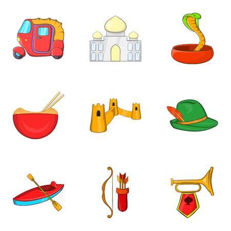 Castle icons set, cartoon style