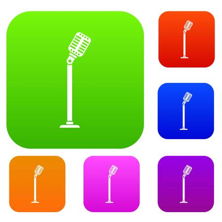 Microphone on stand set collection Illustration