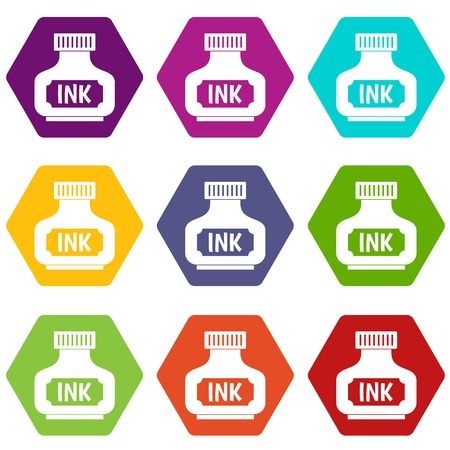 nib: Black ink bottle icon set color hexahedron Illustration