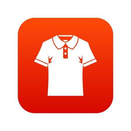 Men polo shirt icon digital red Illustration