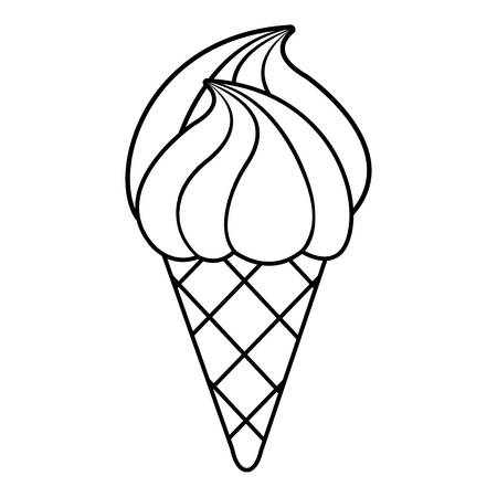 Wafer ice cream icon, outline line style