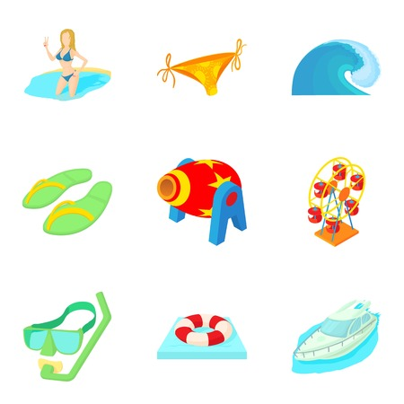 Sinking icons set, cartoon style Illustration
