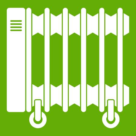 Oil electric heater on wheels icon green Vector illustration.
