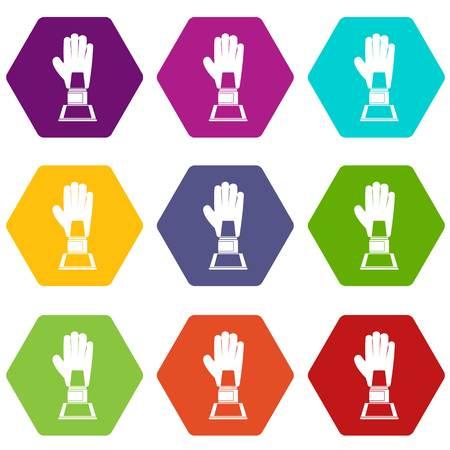 Baseball glove award icon set color hexahedron