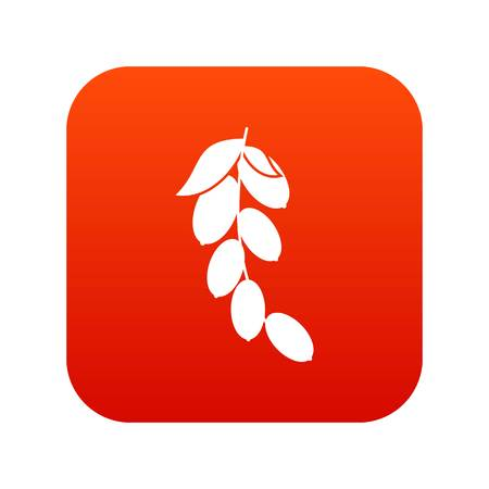 Branch of cornel or dogwood berries icon digital red