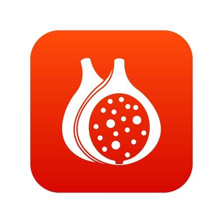 Fig fruit icon digital red Illustration