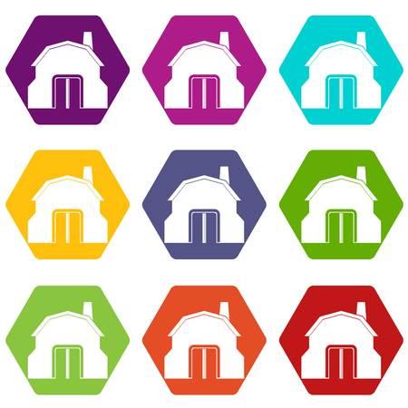 Smid workshop gebouw pictogram set kleur hexahedron