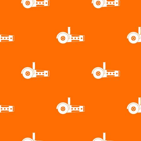Circular saw pattern repeat seamless in orange color for any design. Vector geometric illustration