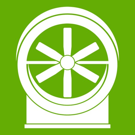 Fan icon white isolated on green background. Vector illustration
