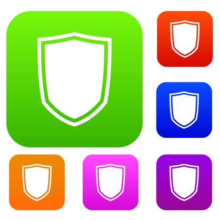 Military shield set icon in different colors isolated vector illustration. Premium collection