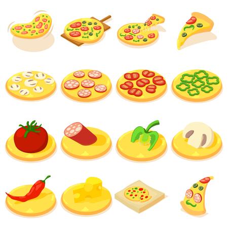 margherita: Pizza icons set, isometric style Illustration