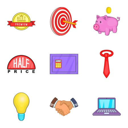 progression: Progression icons set, cartoon style
