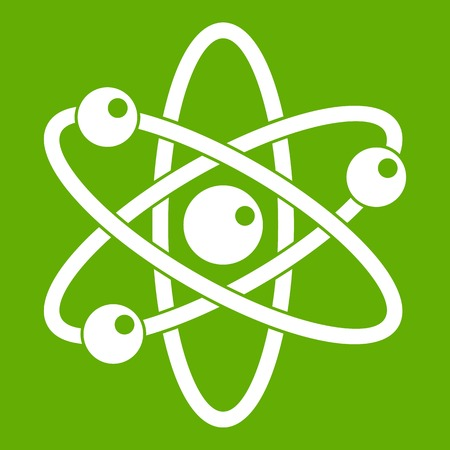 Atom with electrons icon green Illustration