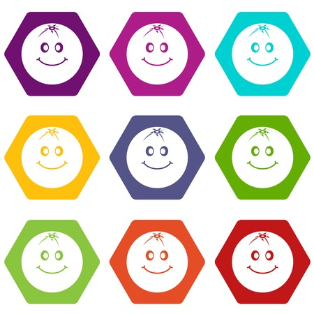 Smiling fruit icon set color hexahedron