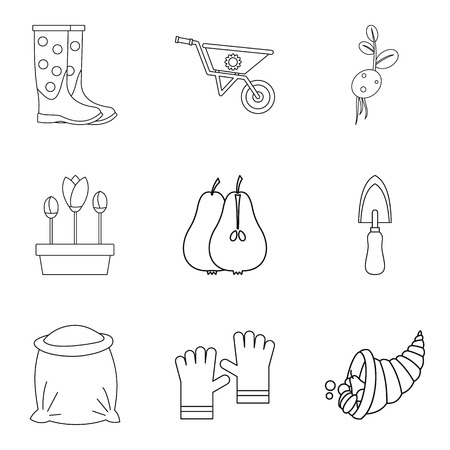 Bag icons set, outline style