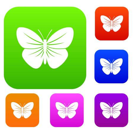 butterfly isolated: Black butterfly set collection Illustration