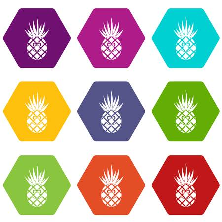 Smiling pineapple icon set color hexahedron