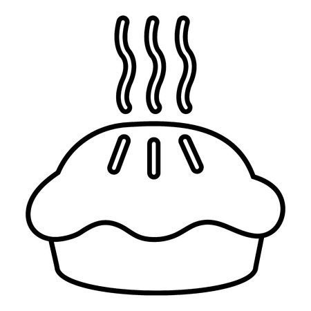 carbohydrate: Hot cupcake icon, outline line style