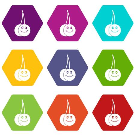 glace: Ripe smiling cherry icon set color hexahedron