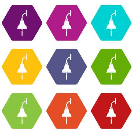 Ship bell icon set color hexahedron Illustration
