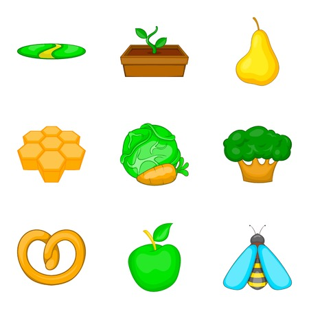 Honey icons set, cartoon style Illustration
