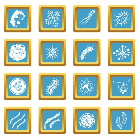 infected: Virus bacteria icons azure