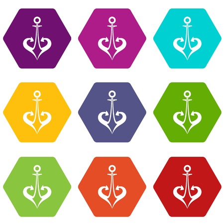 Anchor icon set color hexahedron