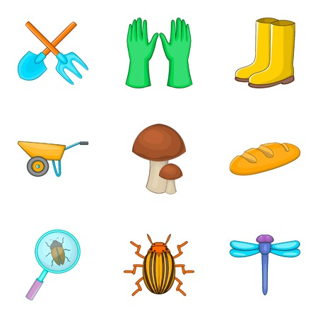 Research beetles icons set, cartoon style