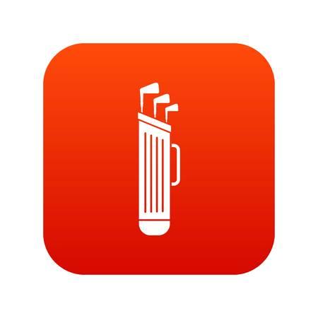 Icône de sac de clubs de golf numérique rouge Vecteurs