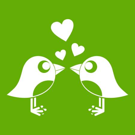 Two birds with hearts icon green