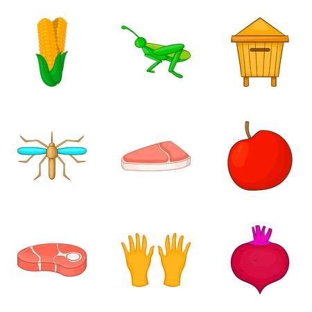 Meat procurement icons set, cartoon style Illustration