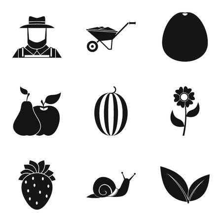 Caring for crop icons set, simple style Illustration