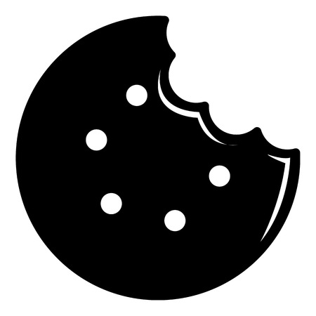 Bite biscuits icon, simple black style Çizim