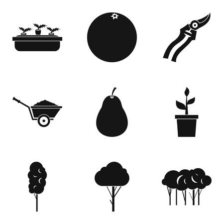 Plant transplantation icons set, simple style