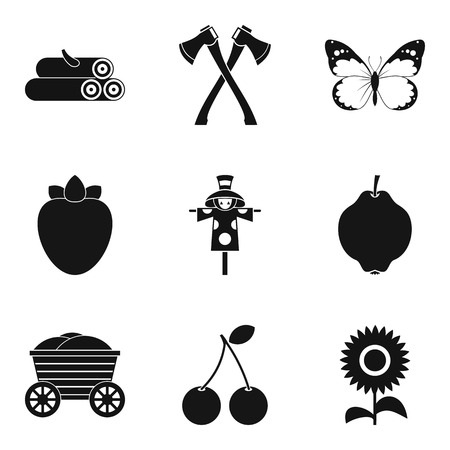 Collection of wood icons set, simple style