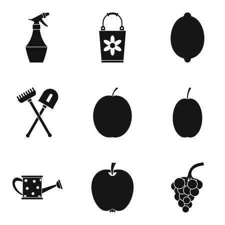 Watering icons set, simple style Illustration