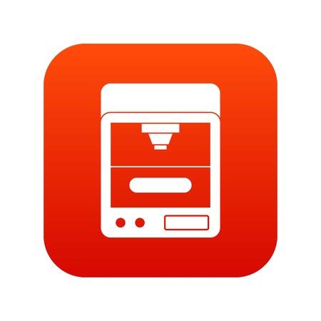 3D printer icon digital red Illustration