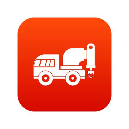 Drilling machine icon digital red