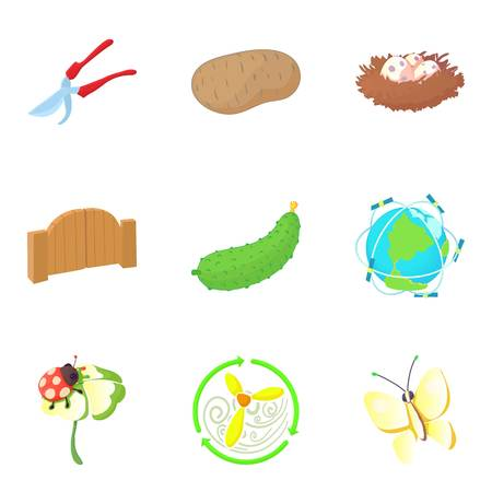 Pollination icons set, cartoon style