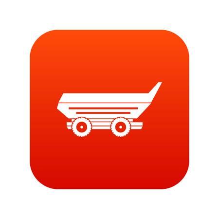 cushy: Car trailer icon digital red