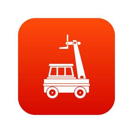 Cherry picker icon digital red Ilustracja