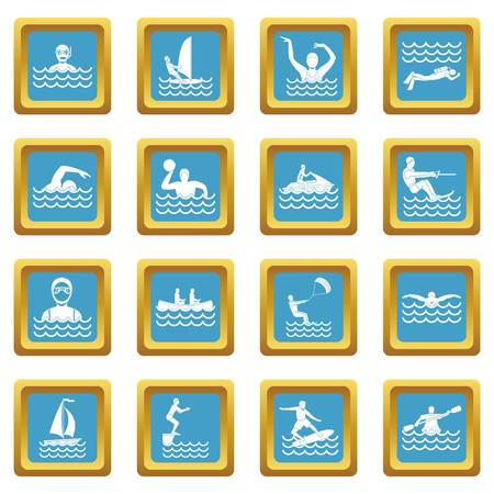 Water sport icons azure
