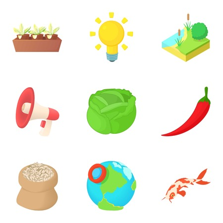 Delivery of vegetable icons set, cartoon style