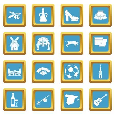Spanje reispictogrammen azuurblauw Stock Illustratie