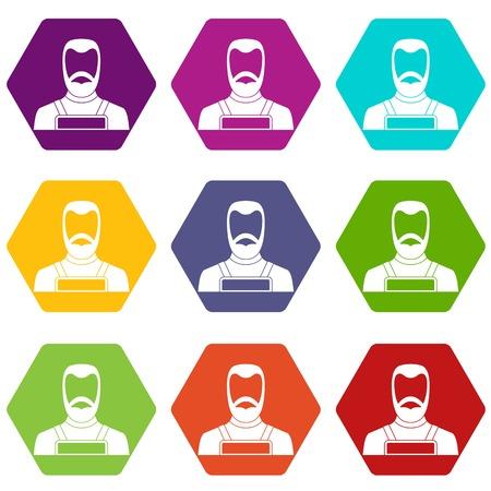 trabajo manual: Icono de herrero establece hexaedro de color