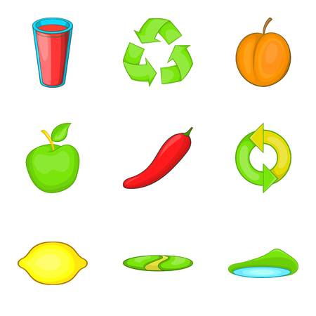 Purchase of vegetables icons set, cartoon style