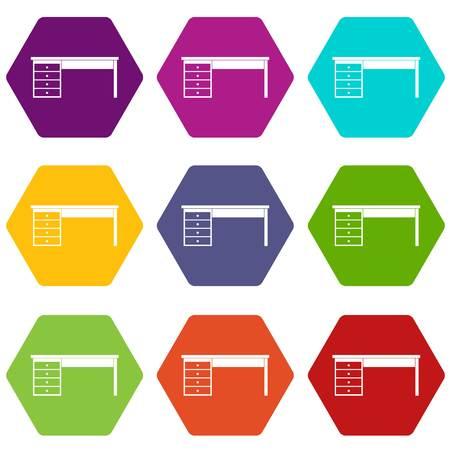 Wooden office desk icon set color hexahedron Illustration