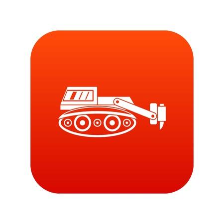 slog: Excavator with hydraulic hammer icon digital red Illustration