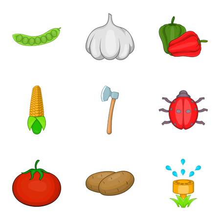 Agriculture sector icons set, cartoon style