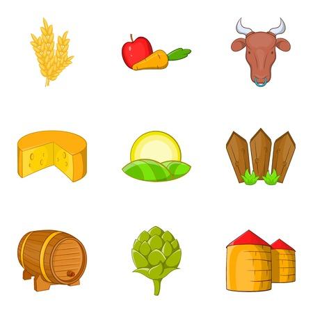 Rural economy icons set, cartoon style Illustration
